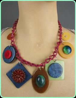 Art Deco Phenolic chunky discs necklace on a red chain