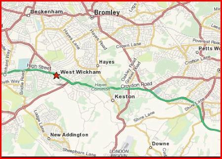 Map of West Wickham in Kent area
