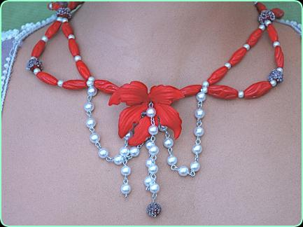 Stunning designer red glass and pearl chain necklace with large red flower centrepiece