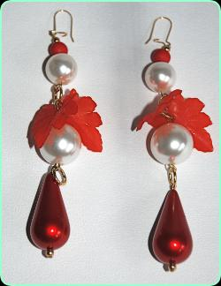 Designer pearl beads and red pearl tear drops with red leaf decoration