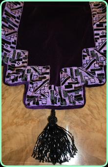 Art Deco purple velvet runner with beaded tassels